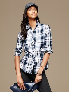 Banana Republic Womens Soft Wash Bold Plaid Flannel Shirt Size L - Preppy navy
