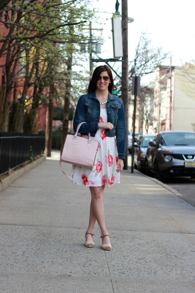 floral dress and blush purse