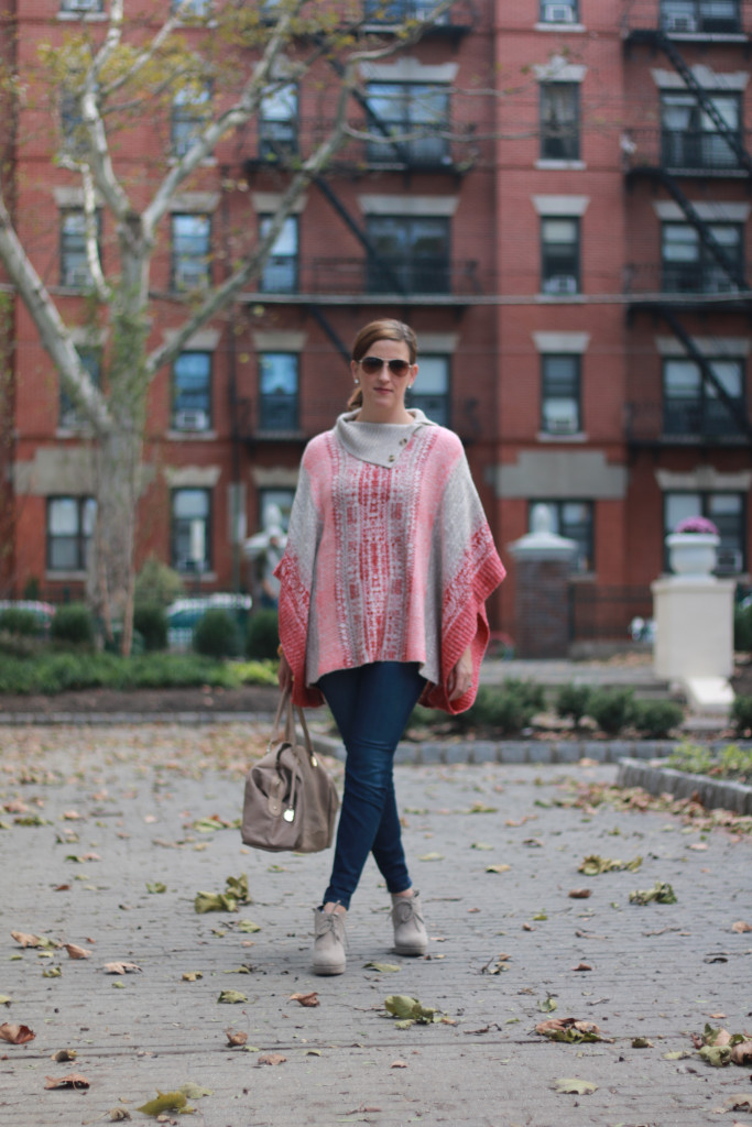 cape and jeans perfect fall outfit