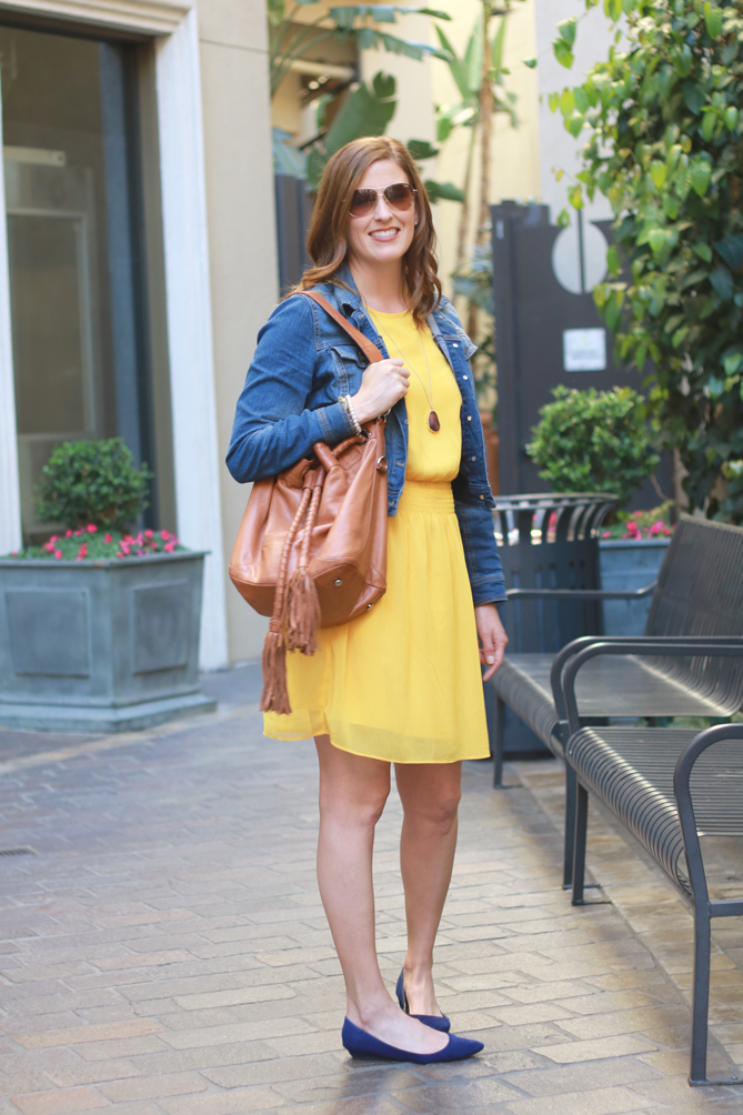 Mustard dress, denim jacket and cobalt shoes. The perfect Spring look for a busy mom on the go.