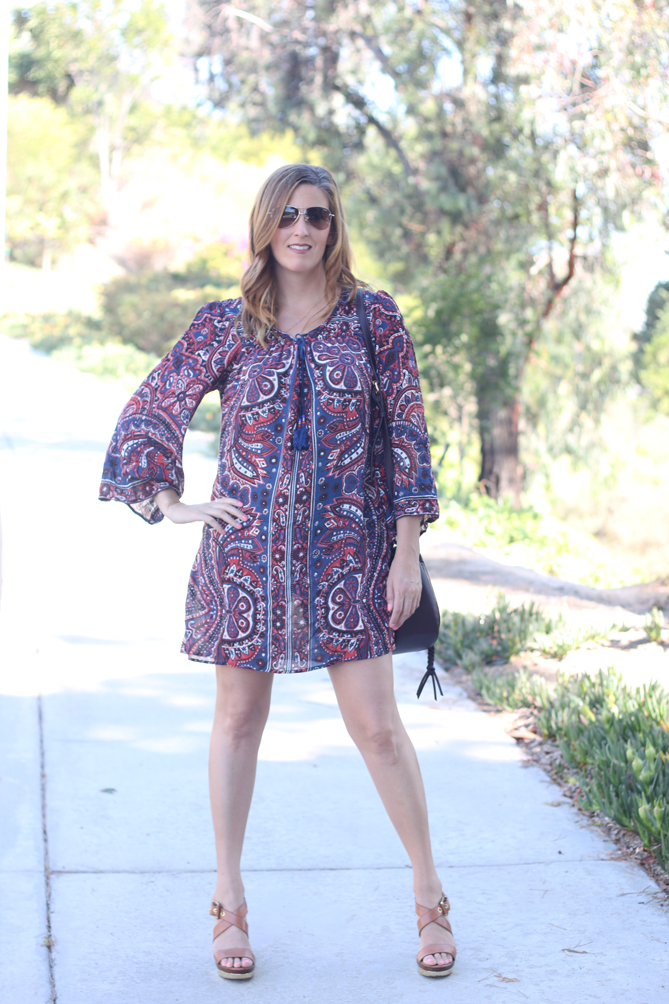 The perfect boho shift dress for your summer to fall wardrobe.