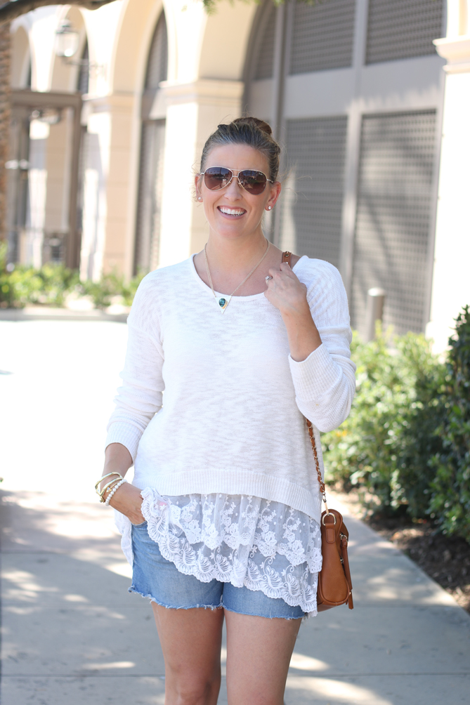The perfect cool evening personal style with a sweater and cutoffs. - The Fashionista Momma