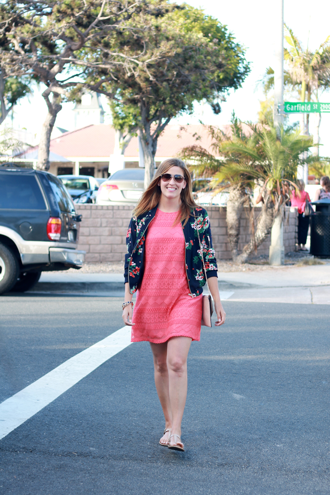 A floral jacket and a coral lace dress for a stylish mom's night out with the family. - The Fashionista Momma