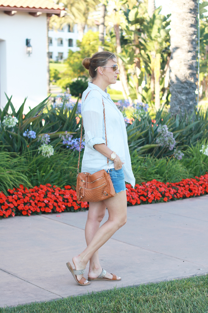 The perfect casual summer look with a striped button up and cutoff shorts. - The Fashionista Momma