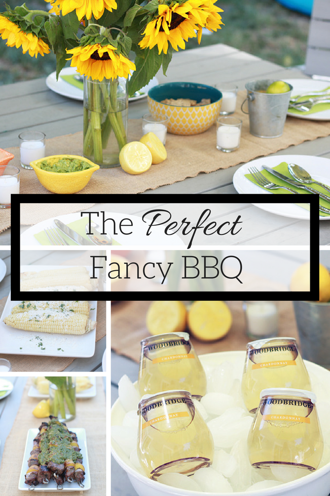 The perfect fancy BBQ with stackable wine, chimichurri steak kabobs, healthy mexican corn and s'mores.