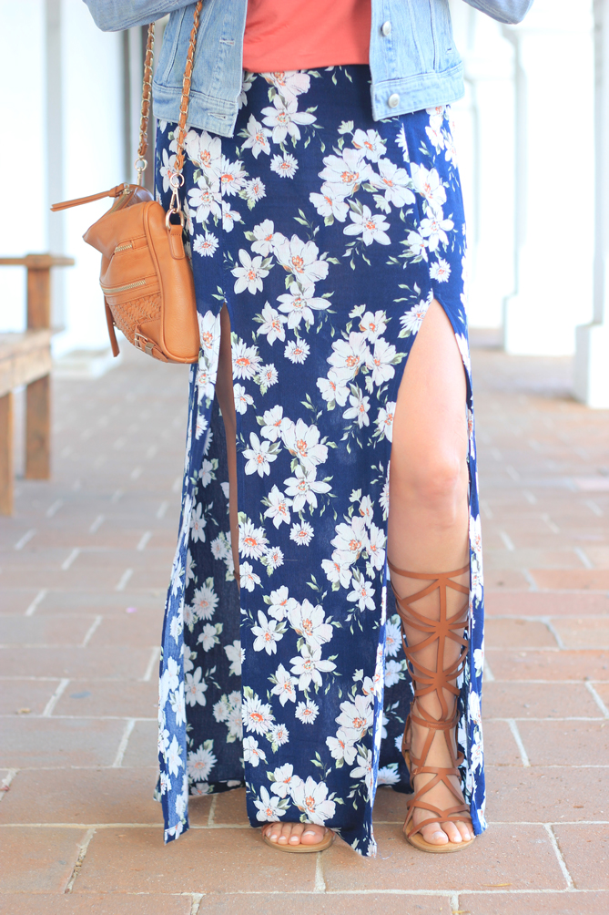 Summer style with a floral maxi skirt with a tank top and denim jacket.