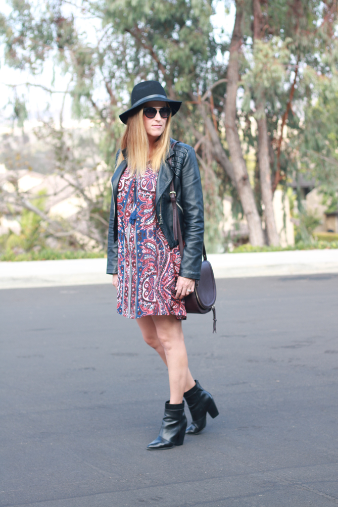 Cute Ankle booties paired with a dress and a hat. - The Fashionista Momma