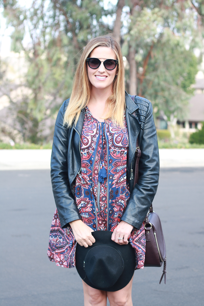 Ankle boots paired with a dress and a hat. - The Fashionista Momma