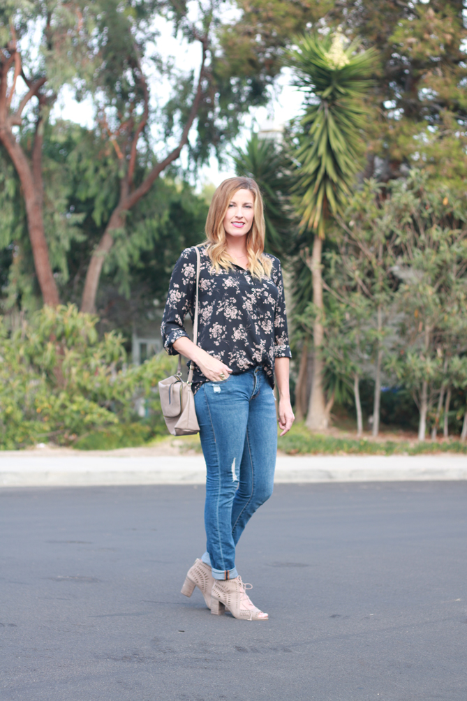 Fall florals with cut out heels.