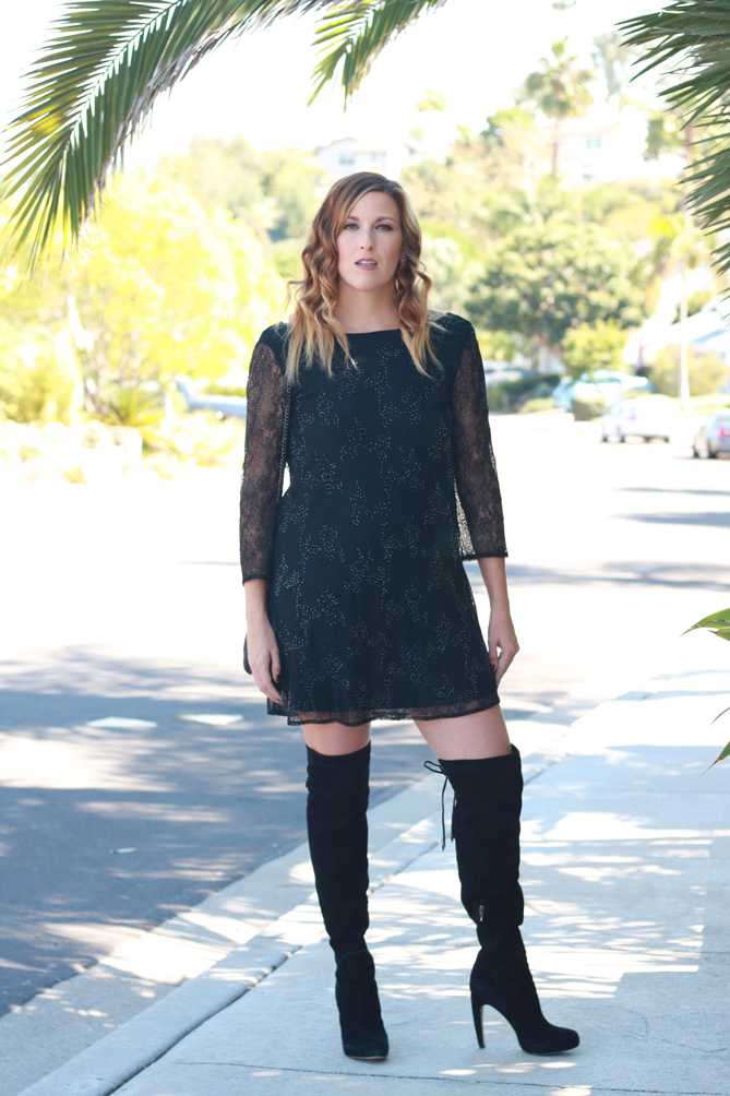 The perfect fall date night look with lace dress and thigh high boots.