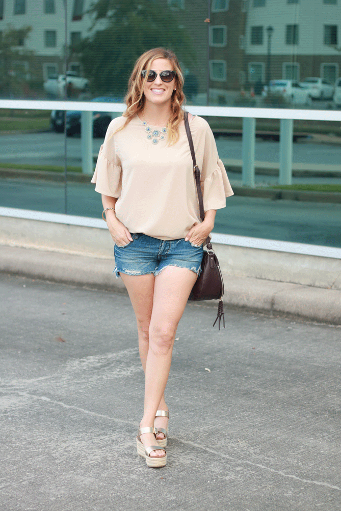 bell sleeve top with cutoff shorts and platforms. - The Fashionista Momma