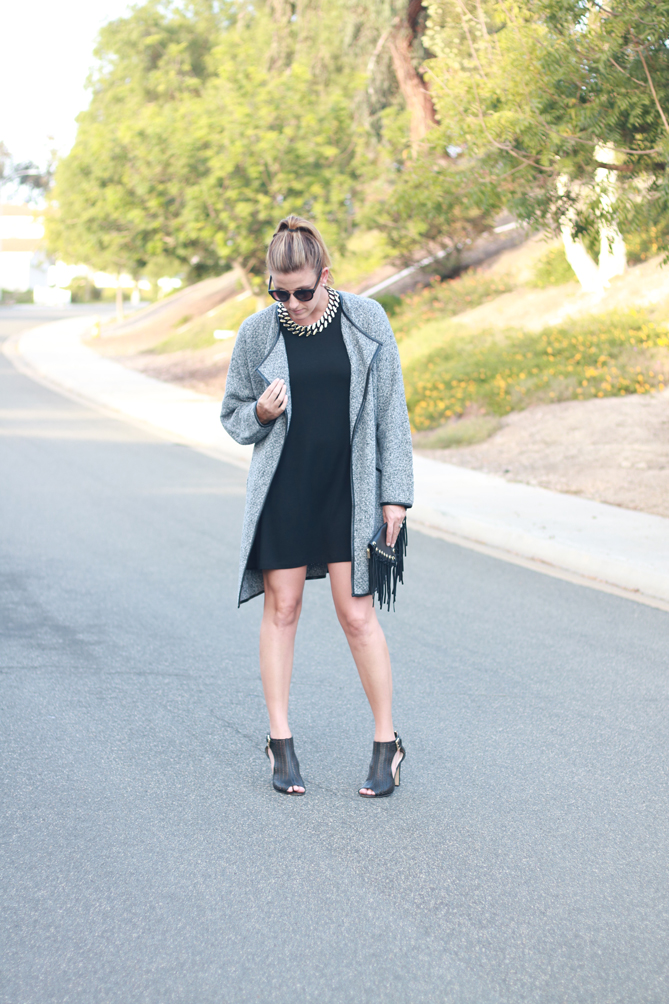 A fall outfit with a cardigan, dress and ankle booties. - The Fashionista Momma