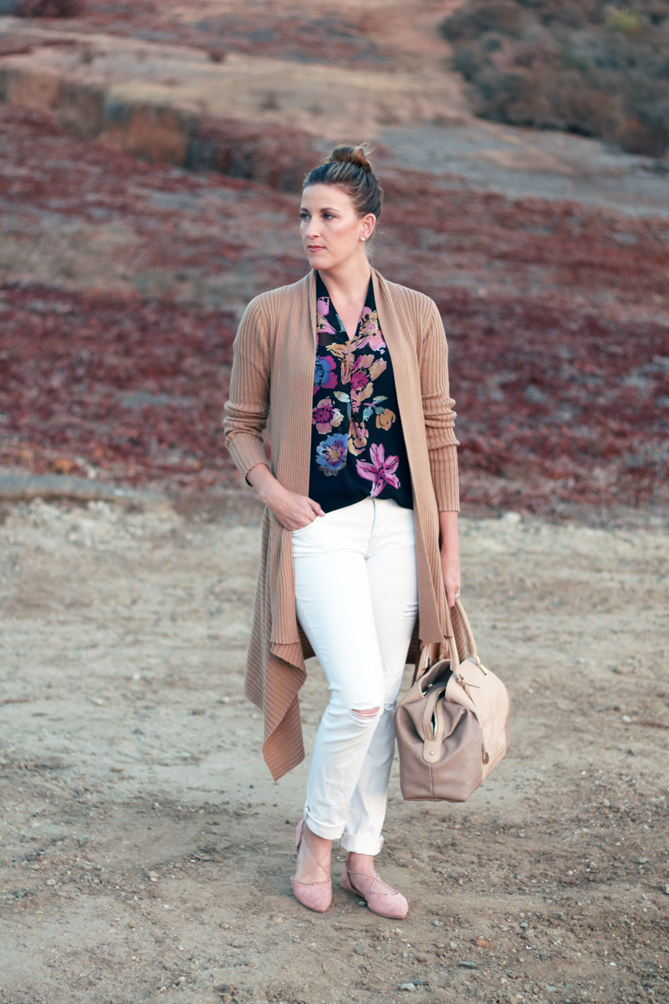 Fall Floral printed top with a camel cardigan and distressed denim. - The Fashionista Momma