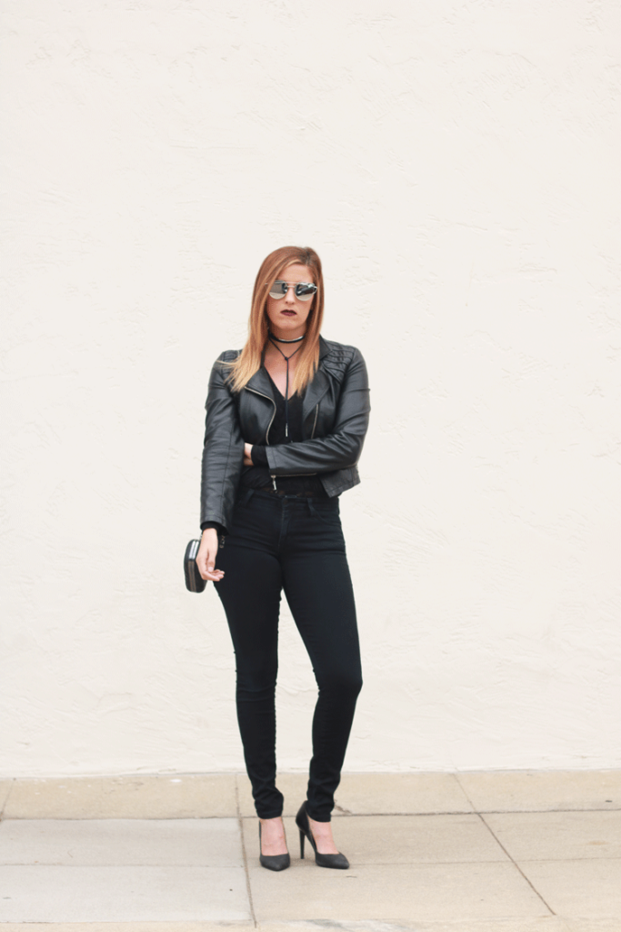 All monochrome with leather and lace. A perfect going out look for cooler temperatures.