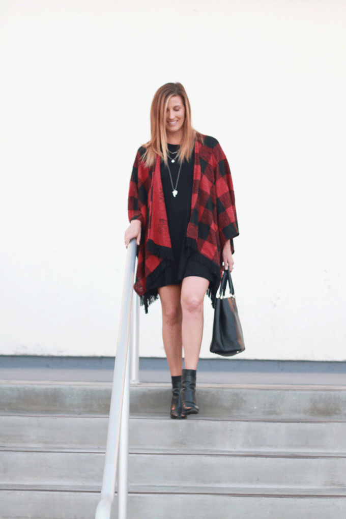 The perfect plaid coverup over a black dress with ankle boots.