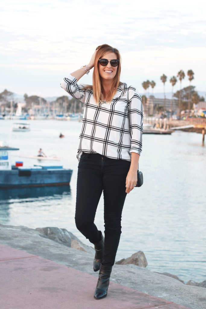 Window pane plaid is a perfect print for fall. Pair it with black jeans and ankle boots. - The Fashionista Momma