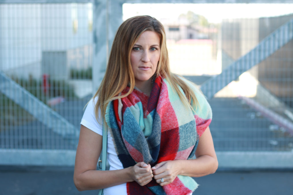 jeans and t-shirt with a blanket scarf.