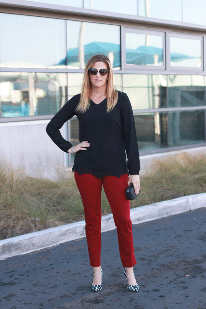 The Fashionista Momma shares a look for the holidays from Cabi with red trousers and lace. - Cabi Pants For The Holidays by popular Los Angeles fashion blogger, The Fashionista Momma