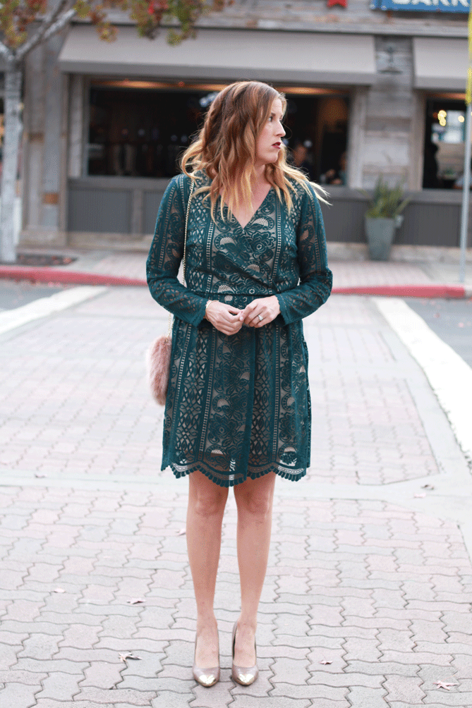 A lace dress perfect for the holiday season.