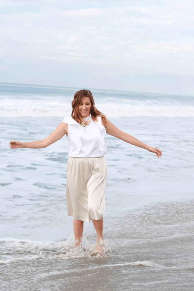 The perfect family photo outfit or holiday look with a ruffle top and shimmery skirt.