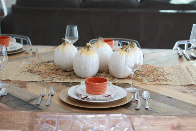 The perfect inexpensive fall tablescape with a DIY painted pumpkin.