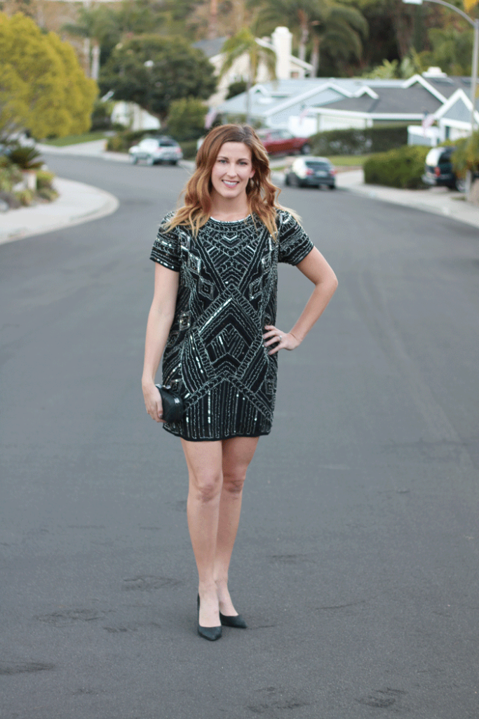 The black sequin dress perfect for a night out.