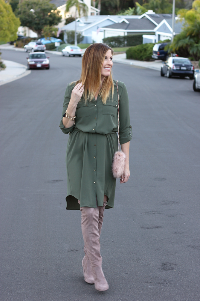 A shirt dress with over the knee boots and fur purse.