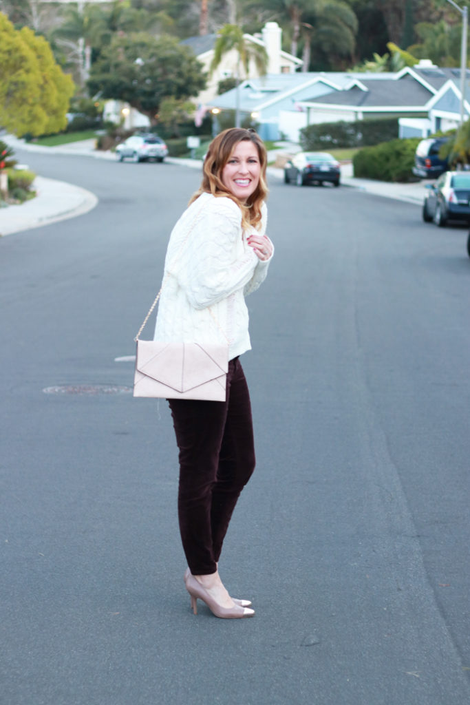 Burgundy velvet pants with an oversized sweater. The perfect Valentine's Day look.
