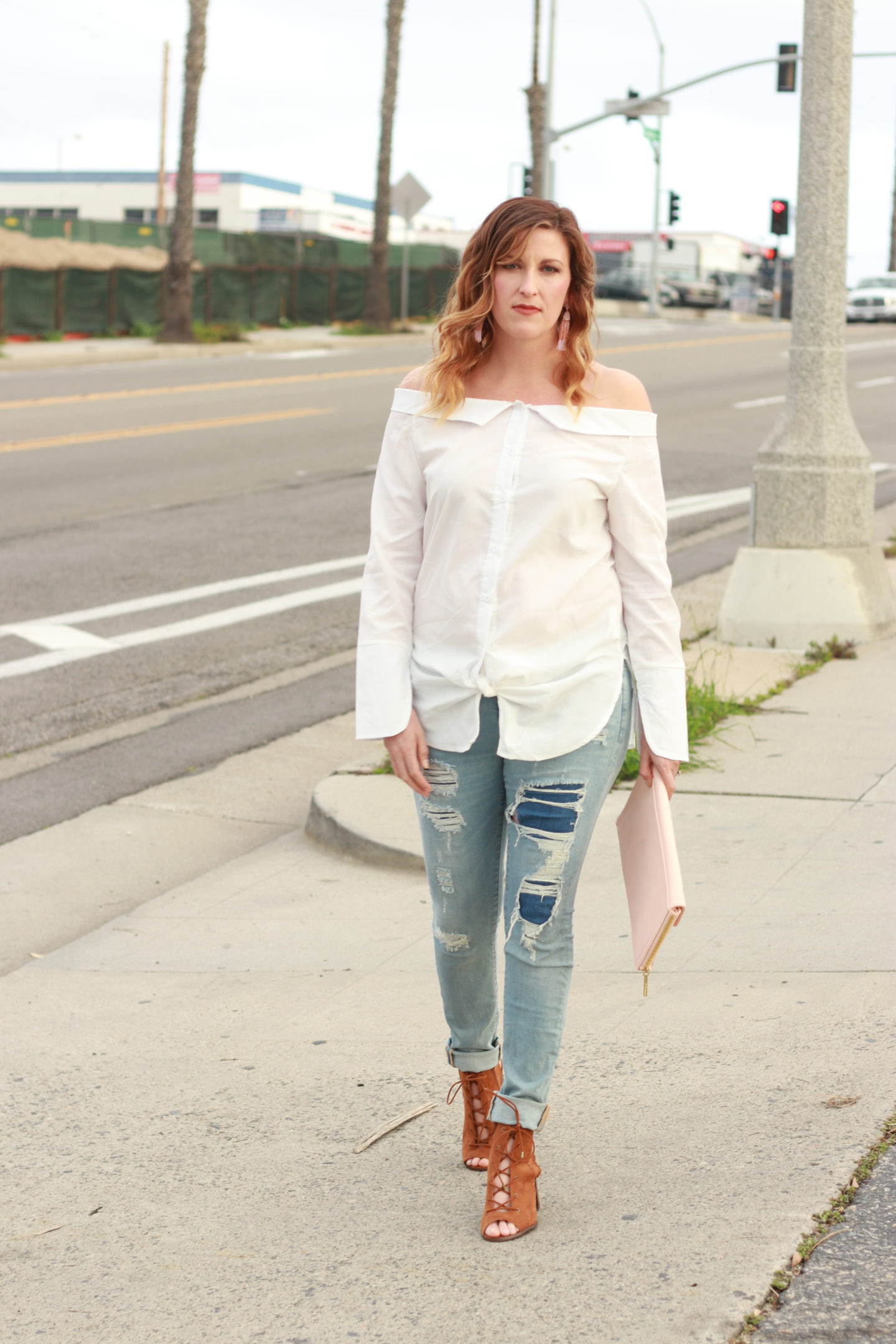The perfect off the shoulder collared shirt for the weekly style edit linkup. - Off The Shoulder Collar Shirt styled by popular Los Angeles fashion blogger, The Fashionista Momma