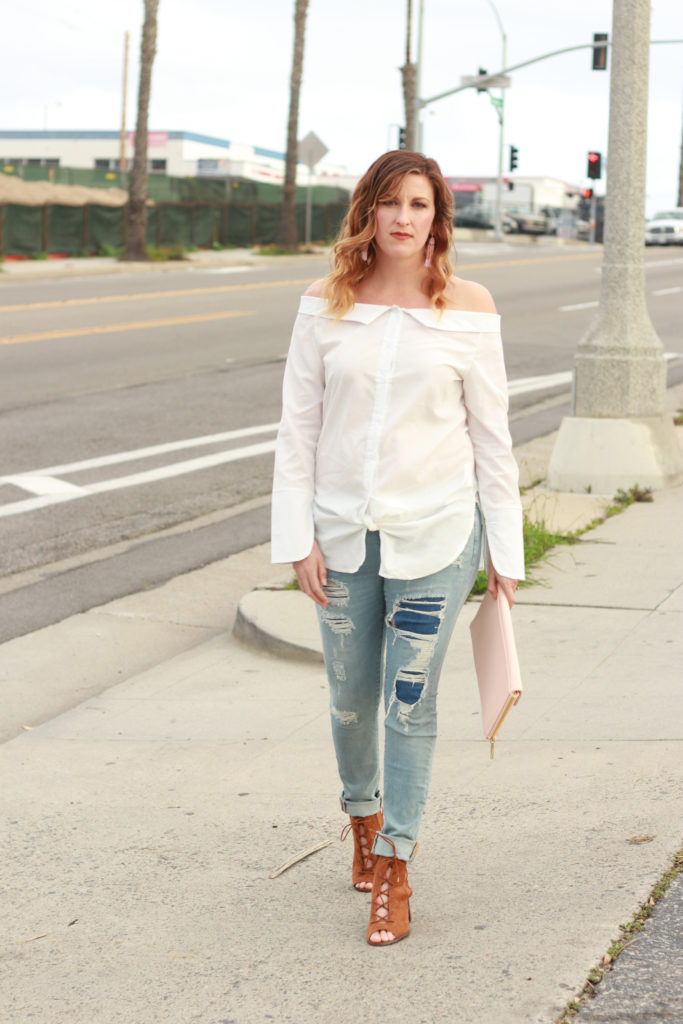 The perfect off the shoulder collared shirt for the weekly style edit linkup.