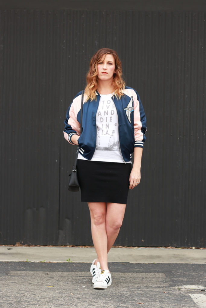 The perfect bomber jacket and a casual pencil skirt.
