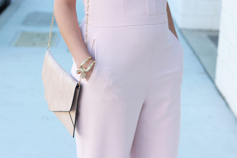 The perfect blush jumpsuit for spring and wedding season.