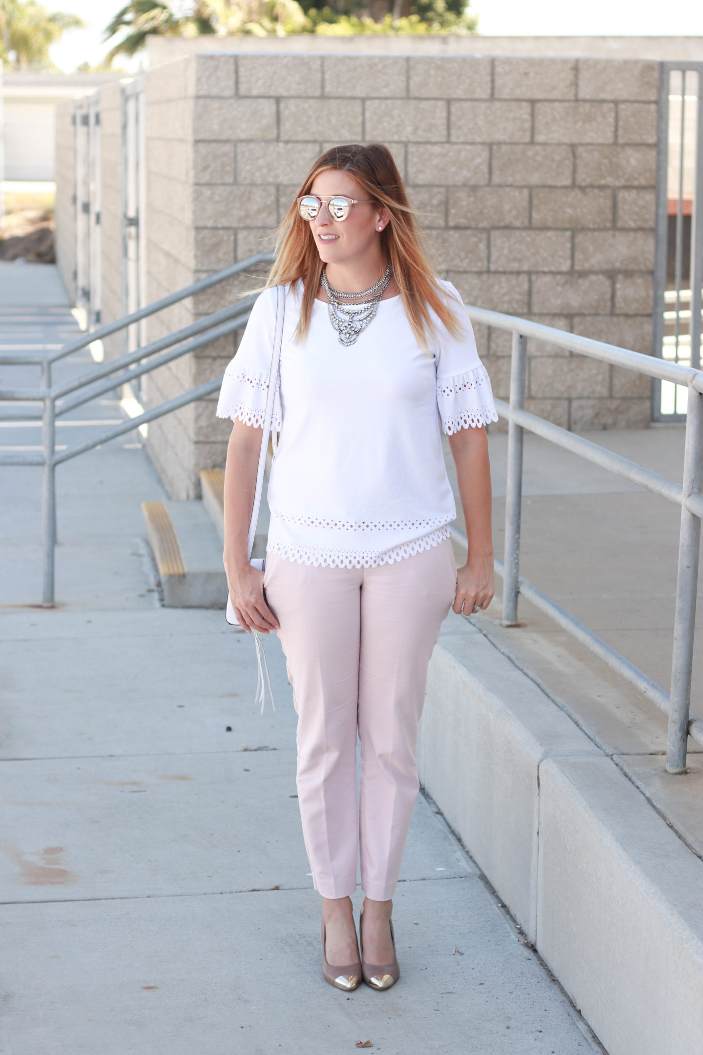 The perfect pair of blush pants with an eyelet detailed top.