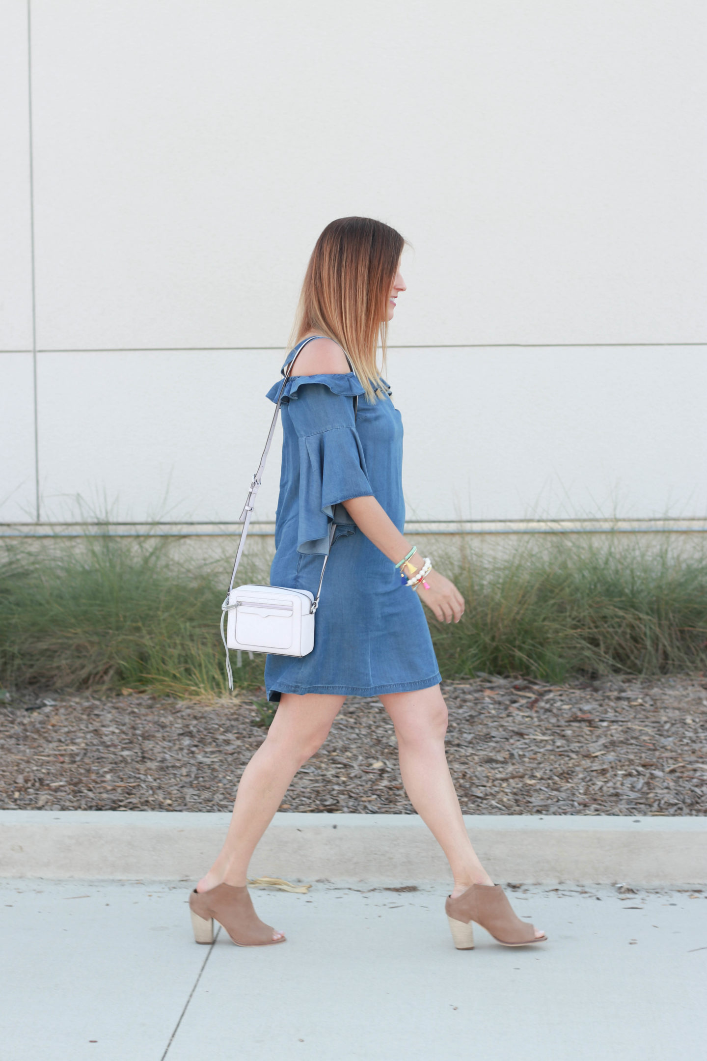 The perfect cold shoulder chambray dress with ankle booties.