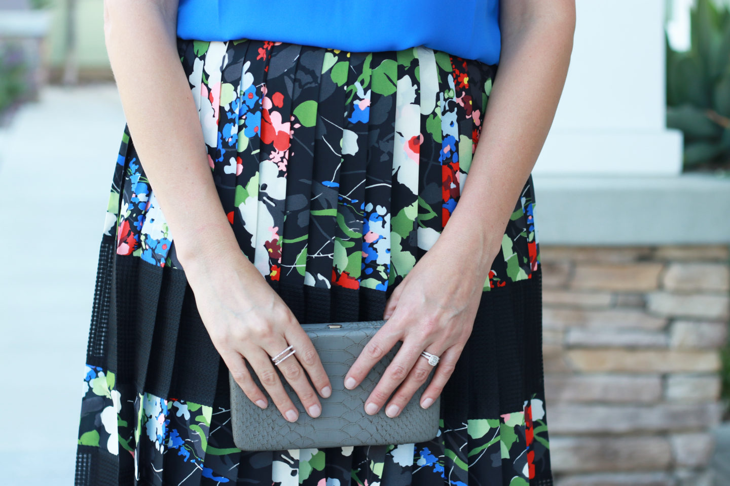 The perfect floral pleated skirt for wedding season and spring.