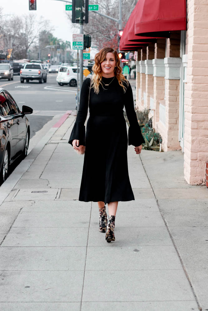 A black sweater dress for the opening of Japan House LA by popular Los Angeles fashion blogger The Fashionista Momma