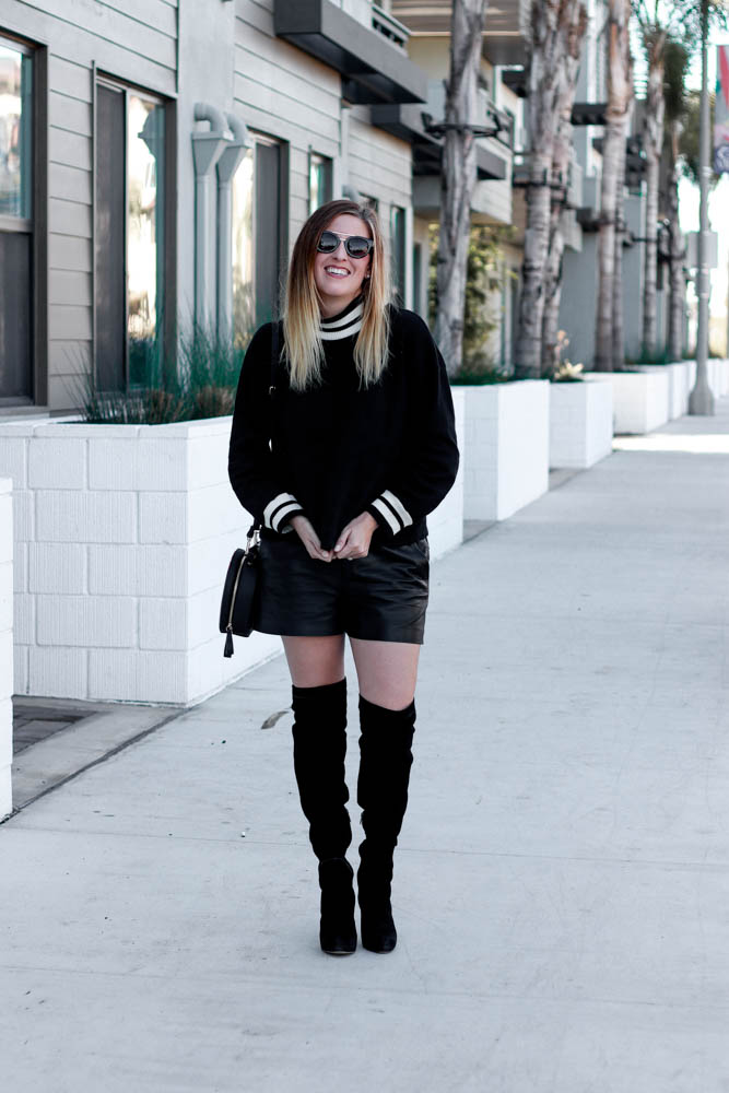 A great cozy sweater to go from day to night. Styled for a date night with leather boots and thigh high boots by popular Los Angeles fashion blogger The Fashionista Momma