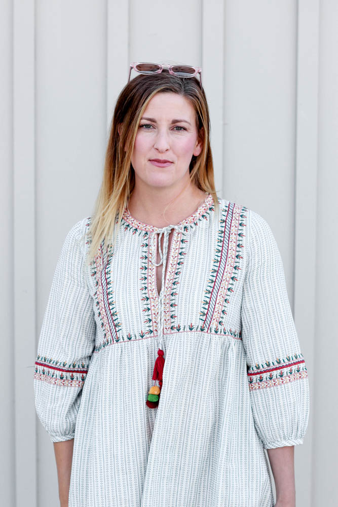 Embroidered Dress styled by popular Los Angeles fashion blogger The Fashionista Momma