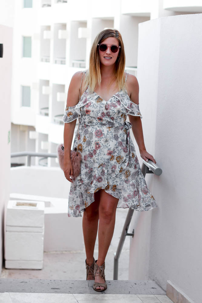 Floral Cold Shoulder Dress styled by popular Los Angeles fashion blogger, The Fashionista Momma