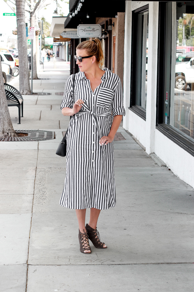 Target striped shirt dress styled by popular Los Angeles fashion blogger, The Fashionista Momma
