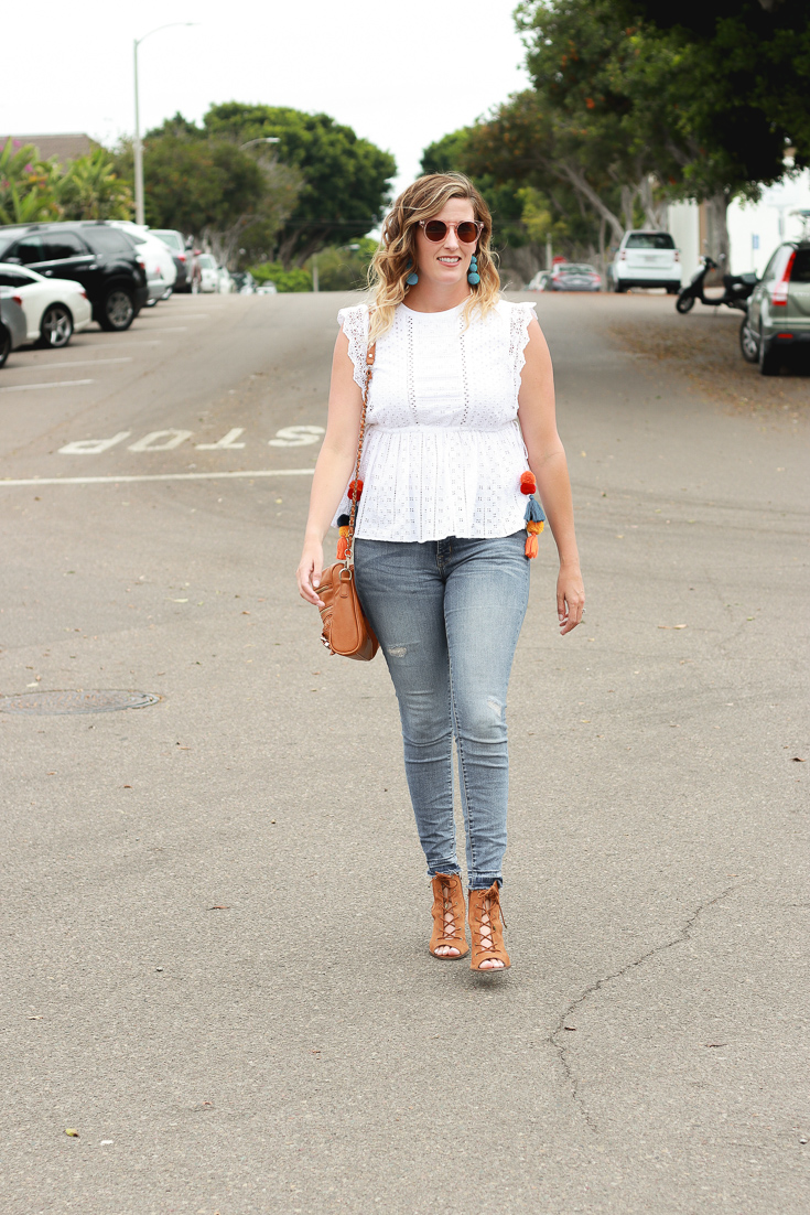 Zara White Eyelet Top styled by popular Los Angeles fashion blogger, The Fashionista Momma