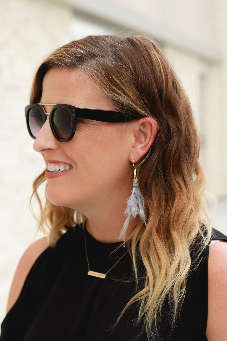 Francesca's Purple Statement Earrings featured by popular Los Angeles fashion blogger, The Fashionista Momma