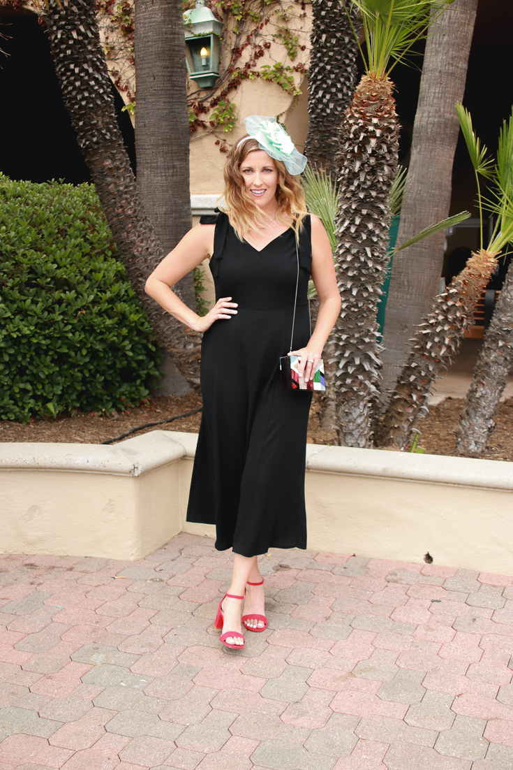 Target Black Midi Dress featured by popular Los Angeles fashion blogger, The Fashionista Momma