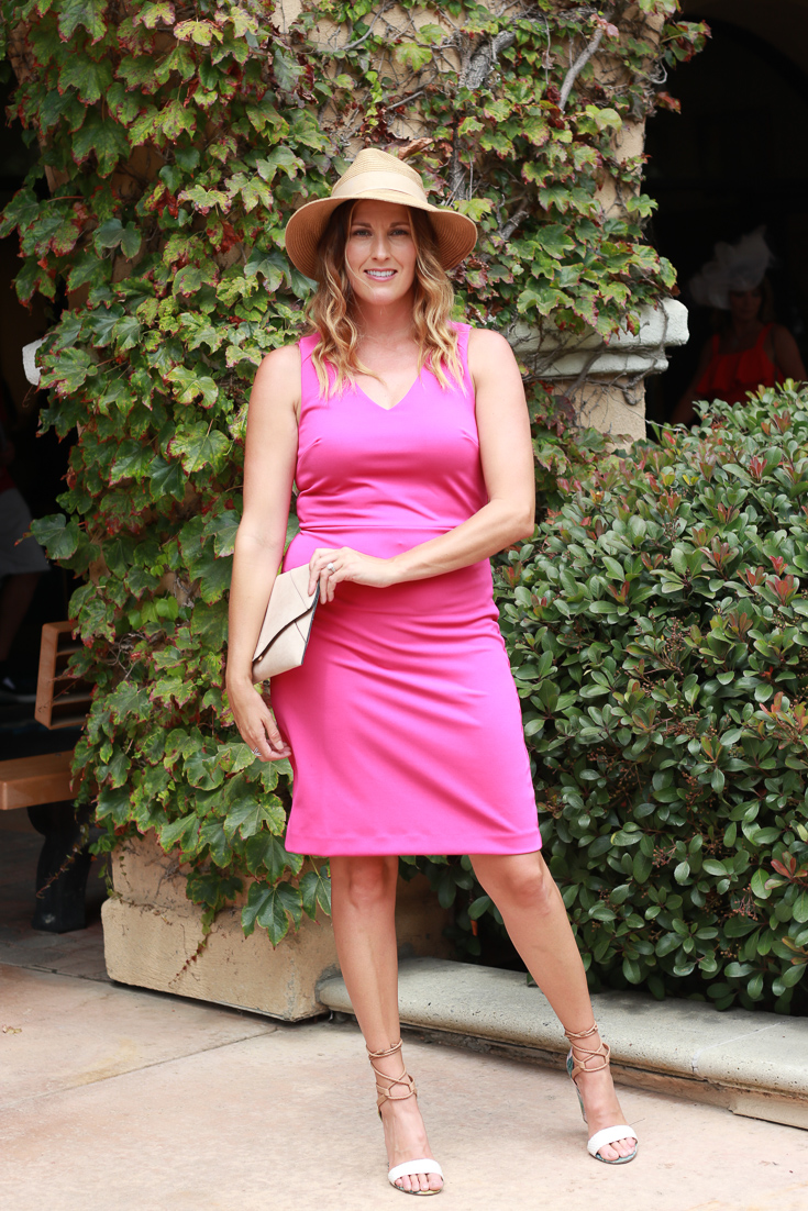 The perfect pink dress and hat for opening day Del Mar.