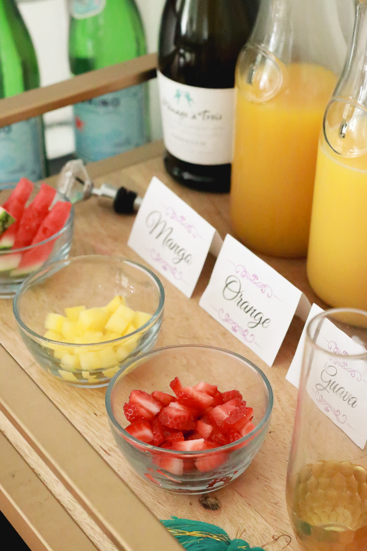 The Fashionista Momma shares the perfect mimosa bar for a mom's back to school party featured by popular Los Angeles lifestyle blogger, The Fashionista Momma