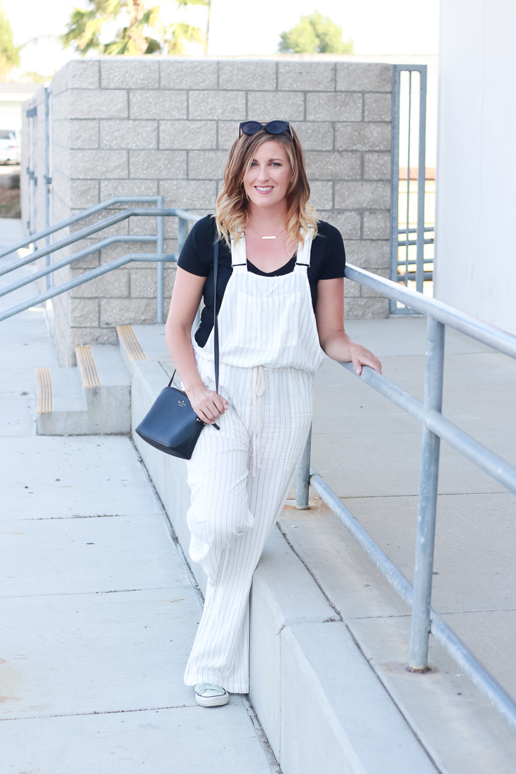 Forever21 striped overalls styled by popular Los Angeles fashion blogger, The Fashionista Momma
