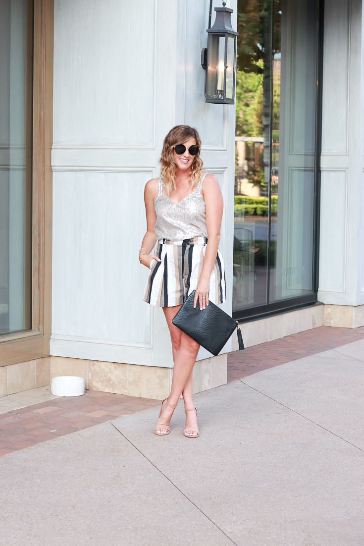 Popular Los Angeles blogger, The Fashionista Momma, shares a pair of striped shorts and nude heels for the perfect date night look.