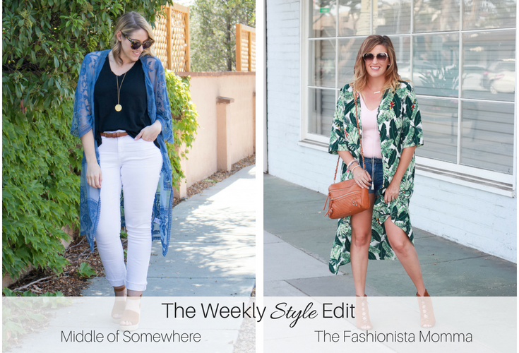 Woman posing wearing a Rachel Zoe Tropical Kimono, featured by popular Los Angeles fashion blogger, The Fashionista Momma