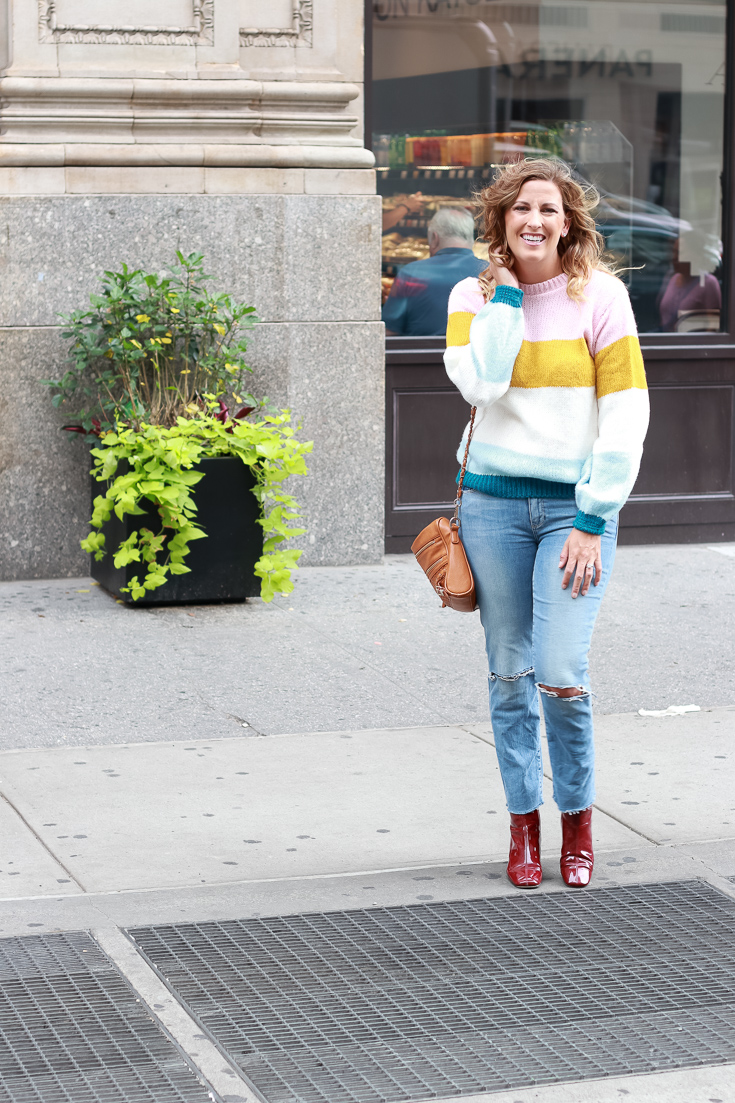A striped sweater and cropped straight leg denim by popular Los Angeles blogger, The Fashionista Momma.