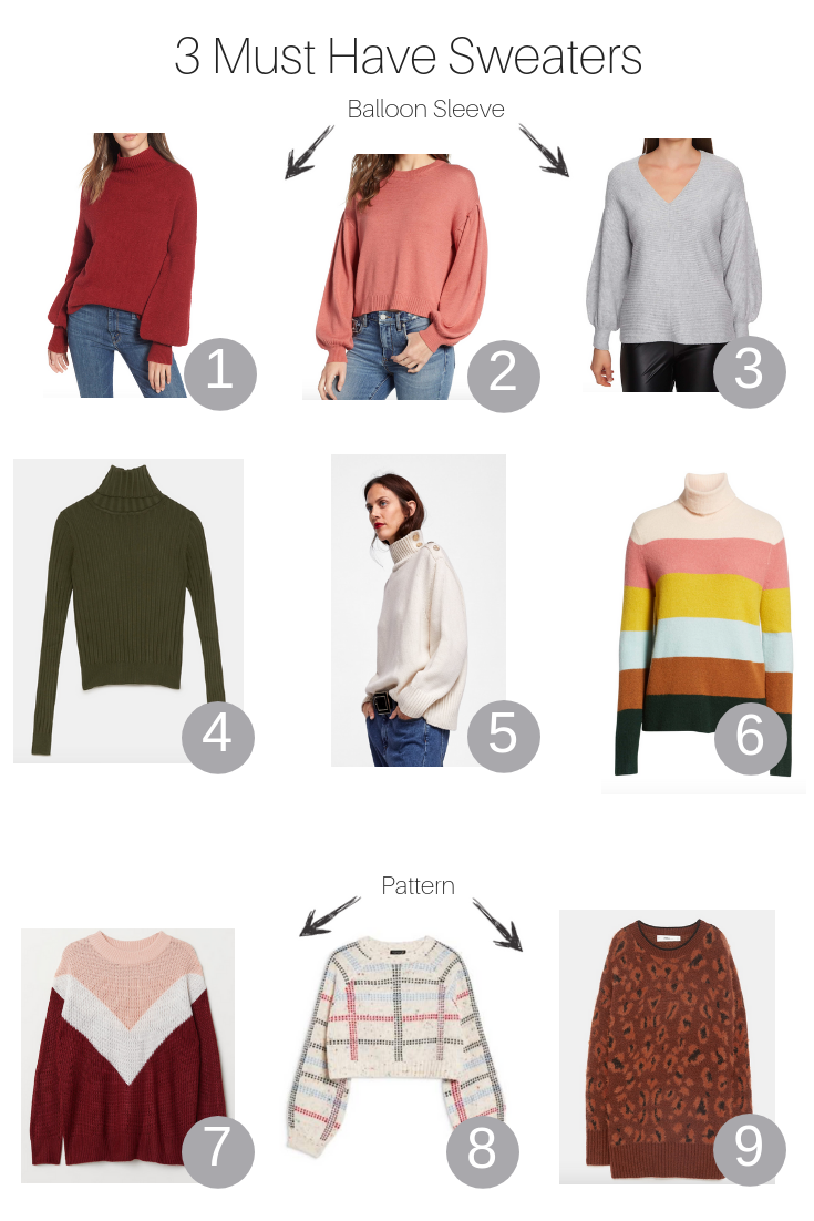 The Fashionista Momma shares three must have sweaters and how to style them for fall.